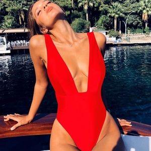 Red Plunge Neckline Monokini Swimsuit